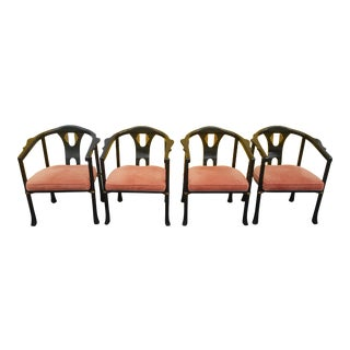 Mid Century James Mont Style Asian Black Lacquer Horseshoe Chairs by Century - Set of 4 For Sale