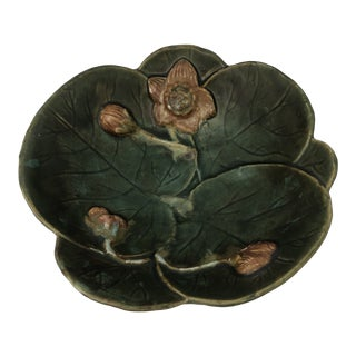 Vintage Majolica Water Lily Decorative Bowl For Sale