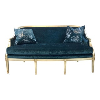 Currey & Co. Velvet Turquoise Audrey Settee For Sale