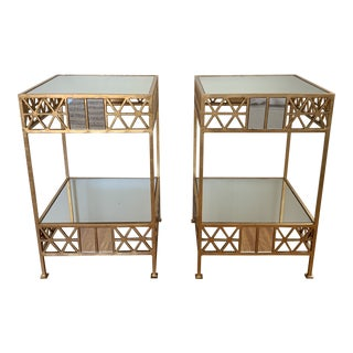 Art Deco Style Golden Side Tables - a Pair For Sale