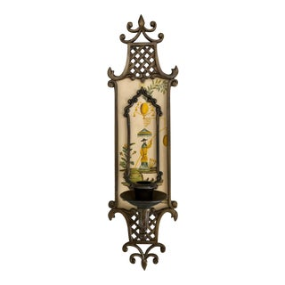 Chinoiserie Pagoda Brass Sconce For Sale