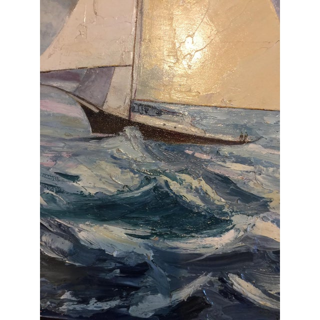 Fabulous Signed Oil on Canvas Board Seascape With Sailboats - #3 - Image 3 of 4