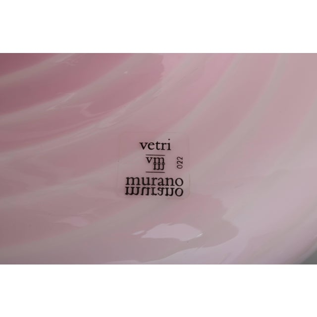 Vetri Murano Pink Glass Table Lamp in a Mushroom Form and Swirl Motif For Sale - Image 9 of 10