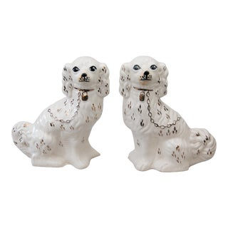 Large Antique White Staffordshire Spaniel Dogs, a Pair