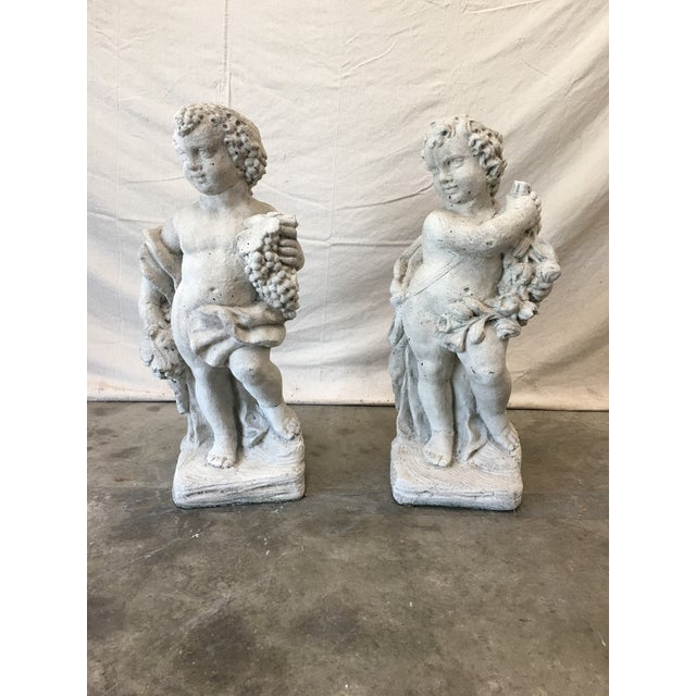 Pair of Italian Cast Concrete Garden Statuary Putti & Flowers Cherubs For Sale - Image 12 of 13