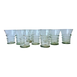 Vintage Blown Spiral Sage Green Tumblers Cocktail Glasses - Set of 9