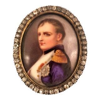 Antique 19th Century French Framed Porcelain Miniature, Portrait of Napoleon For Sale