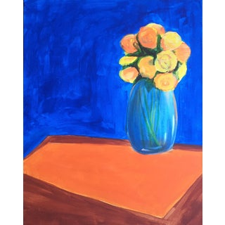 Mid-Century Flowers Acrylic Painting For Sale