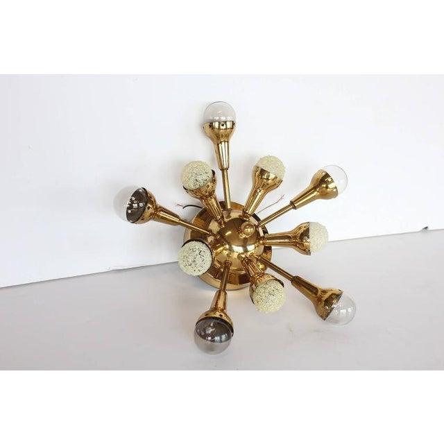 Mid-Century Flush Mount Brass Sputnik Chandelier - Image 3 of 4