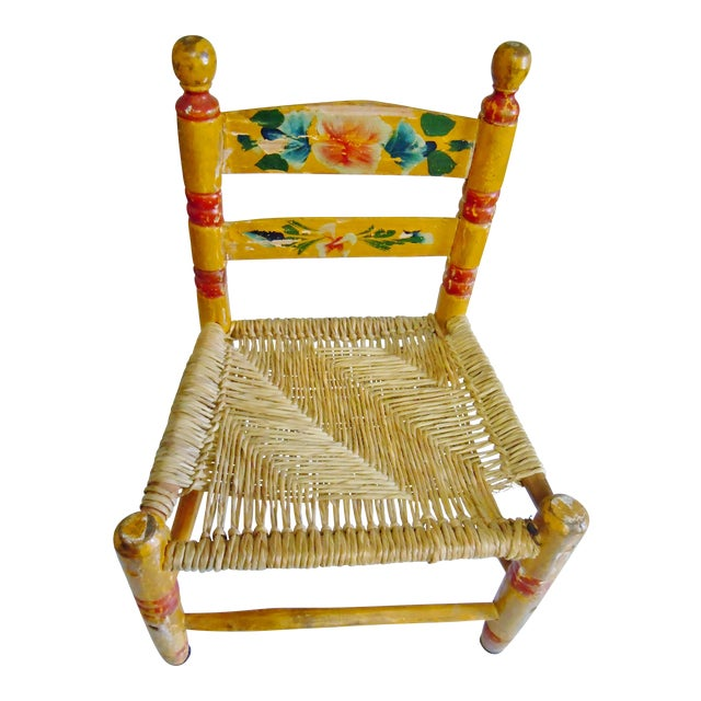 1900's Rustic Childs Chair With Rush Seat For Sale
