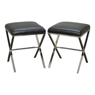 X Base Pair of Chrome & Leather Stools