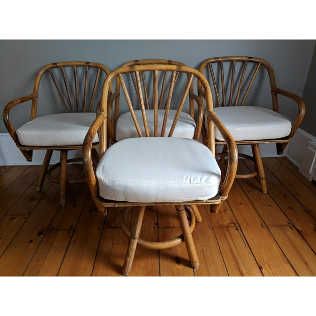 Swivel Bamboo Armchairs - Set of 4 For Sale - Image 13 of 13