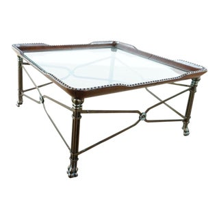 Glass & Leather Top Metal Coffee Table For Sale