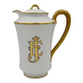 French Haviland Limoges Porcelain With Gilt Accents Coffee or Teapot For Sale