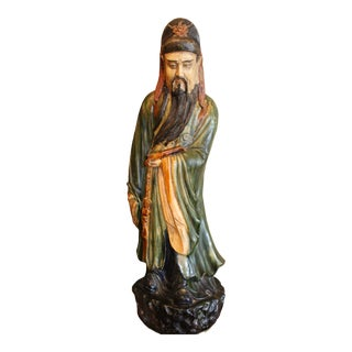 Late 19th Century Large Chinese Glazed Ceramic Scholar Priest Holy Man Figurine For Sale