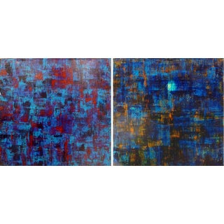 Original Abstract Paintings by Orlanda Brugnola (Set of 2) For Sale