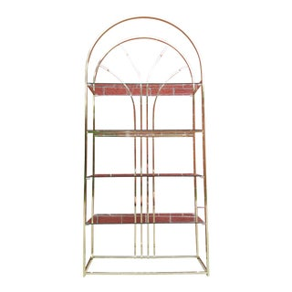 Vintage Mid Century Arched Brass Etagere / Shelving For Sale