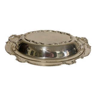 Vintage 1940s Rogers Bro's Reflection Covered Silver Plated Serving Dish - a Pair For Sale