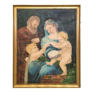 Large 1870 Original Religious Painting, the Holy Family