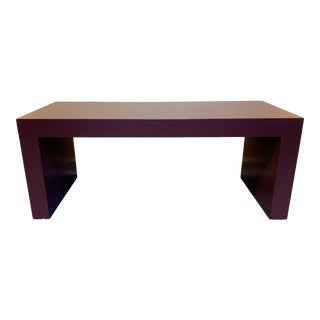 20th Century Contemporary Raffia Cloth Covered Parsons Cocktail Table For Sale