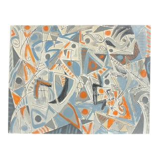 Blue Geometric Painting by Lars Larsen For Sale