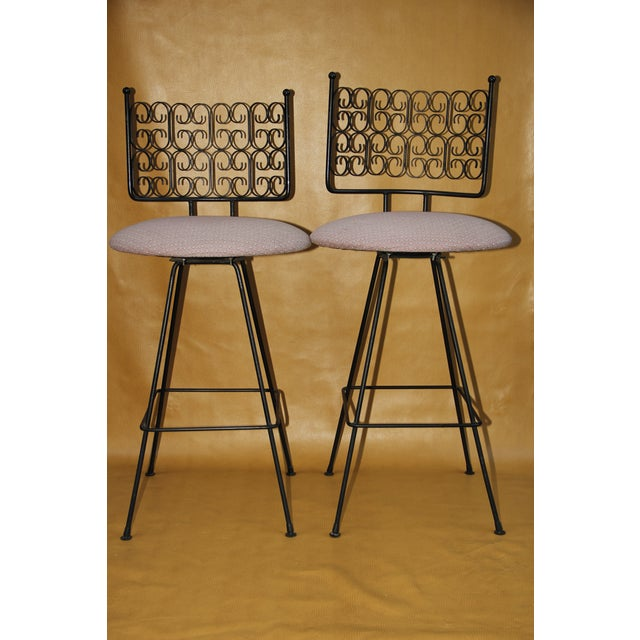 White Arthur Umanoff Wrought Iron Bar Stools - A Pair For Sale - Image 8 of 8