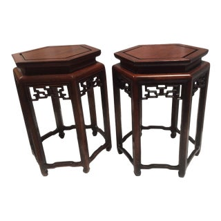 Early 20th Century Chinese Mahogany Stands - A Pair For Sale