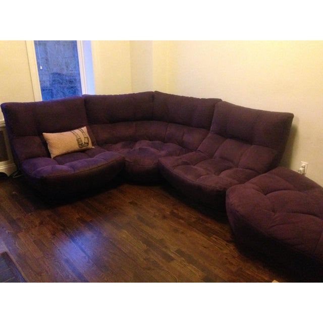 Fabric 4-Piece Curved Sectional Sofa For Sale - Image 7 of 9