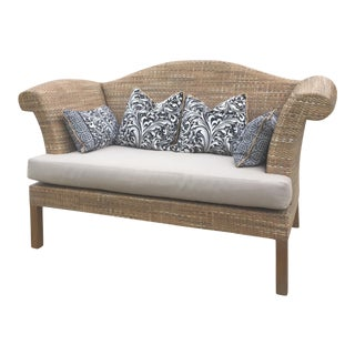 Natural Woven Rattan Settee For Sale