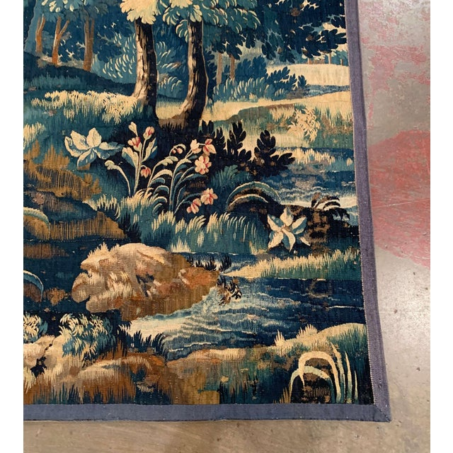 Mid-18th Century French Verdure Aubusson Tapestry With Trees and Foliage For Sale - Image 9 of 13