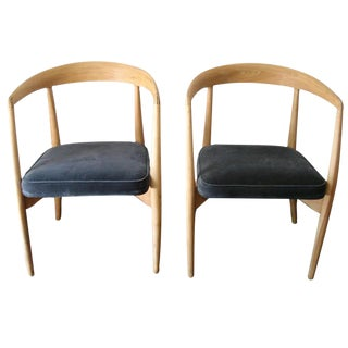 Pair of Original Lawrence Peabody Natural Stripped Armchairs For Sale