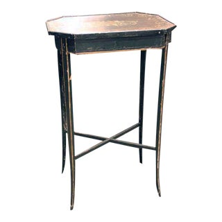 """English Hand Painted Octagon-Shaped Painted Table With """"X"""" Stretchers For Sale"""
