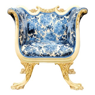 Antique Victorian French Gilded Blue Velvet Carved Wood Armchair For Sale
