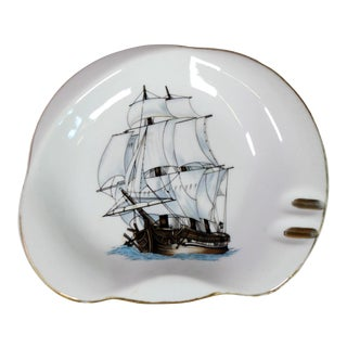 Early 20th Century Nautical Maritime Porcelain Ship Ashtray or Catchall For Sale