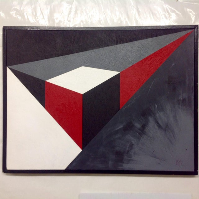 Abstract Geometric Acrylic Painting - Image 2 of 4