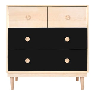 Lukka Modern Kids 4-Drawer Dresser in Maple With Black Finish For Sale