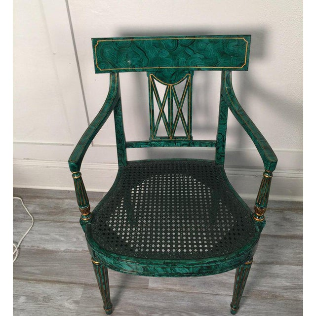 Hollywood Regency 1980s Vintage Maitland Smith Malachite Painted Finish Armchairs- A Pair For Sale - Image 3 of 13
