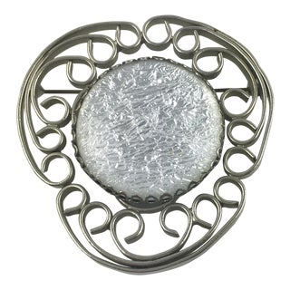 Jacques Gautier Paris Pin Brooch Silvered Metal and White Glitter Glass Cabochon For Sale