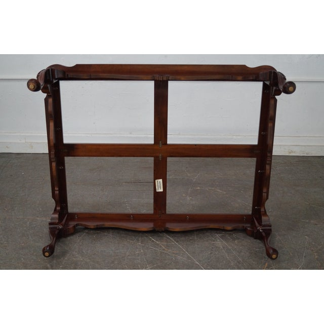 Ethan Allen Ethan Allen Georgian Court Cherry Queen Anne Glass Top Coffee Table For Sale - Image 4 of 10