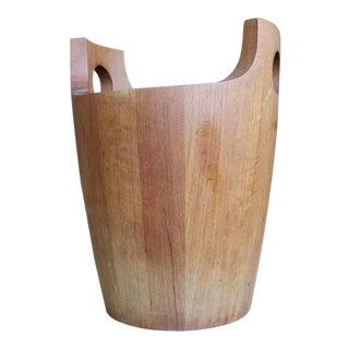 Danish Modern Staved Teak Ice Bucket by Nissen For Sale