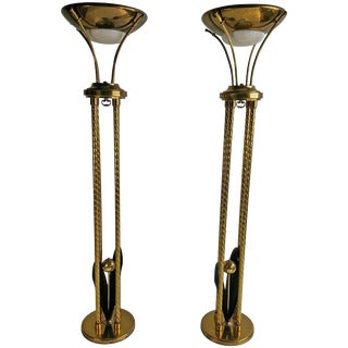 Matching Mid-Century Modern Brass Torchers by Lightolier - a Pair For Sale
