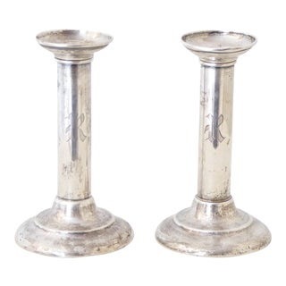 Vintage English Sterling Silver Candlesticks - a Pair For Sale