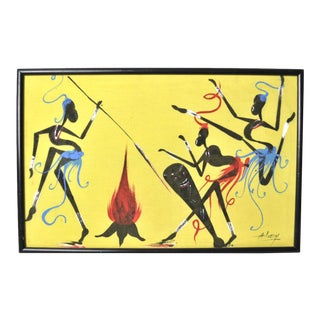 Mid Century Modern Tribal Celebration Painting For Sale