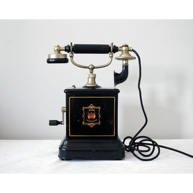 Early 20th Century Antique Danish Hand Crank Telephone For Sale - Image 11 of 11