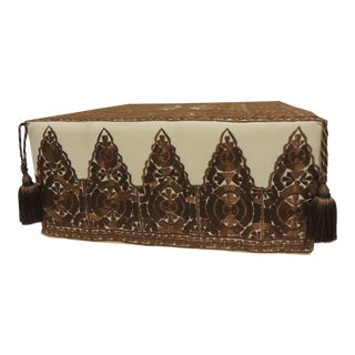 Modern Moroccan Brown Embroidered Square Ottoman with Tassels
