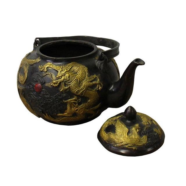 Chinese Rustic Metal Golden Phoenix Dragon Teapot Shaped Display Decor - Image 3 of 5