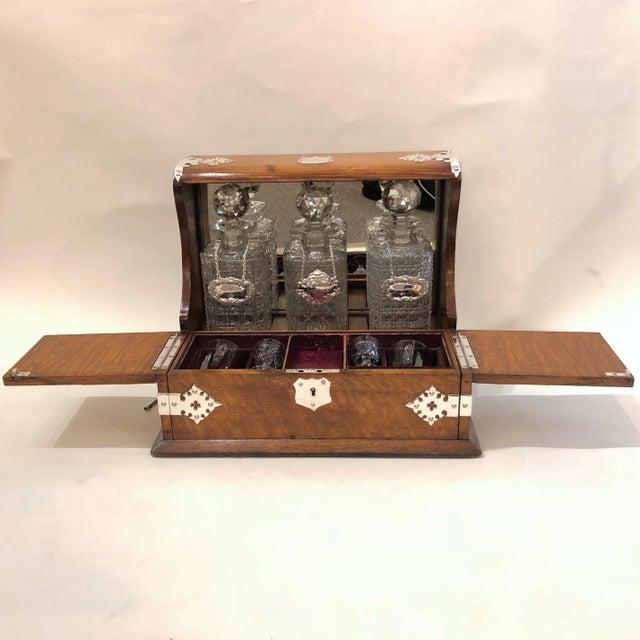 Antique English Games Box Tantalus with Sheffield Silver Mounts, Circa 1880.