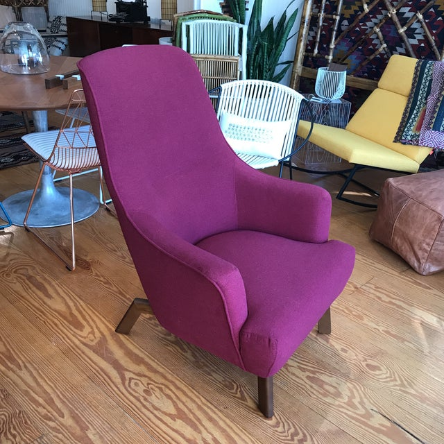 Gus Modern Hilary chair in Stockholm Merlot fabric. This is a floor model in excellent condition. Piping along back and...