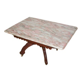 Vintage Victorian Eastlake Style Pink Marble Top Coffee Table For Sale
