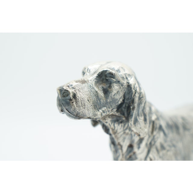Mid 20th Century Vintage Silverplate Sporting Dog on Wooden Base For Sale - Image 5 of 11